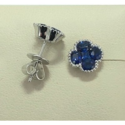 Earring Sapphire cluster