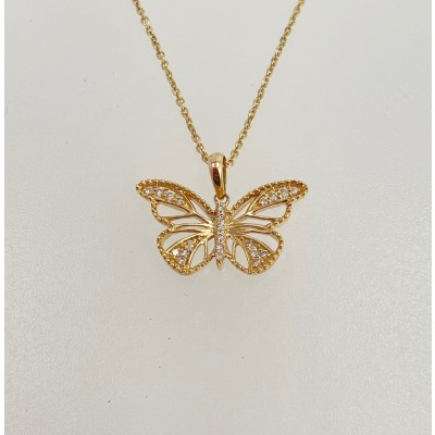 Gold & Diamond Butterfly Pendant