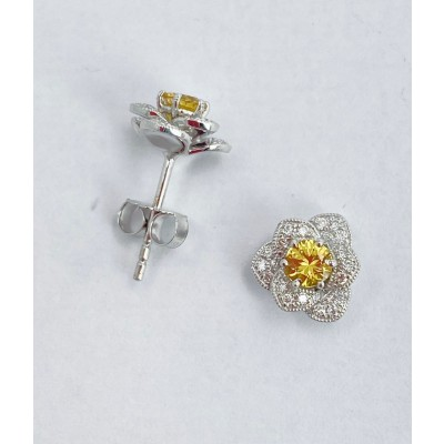 Yellow Sapphire and Diamond Flower Stud Earrings