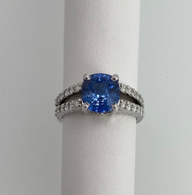 Sapphire and Diamond Custom Made Ring
