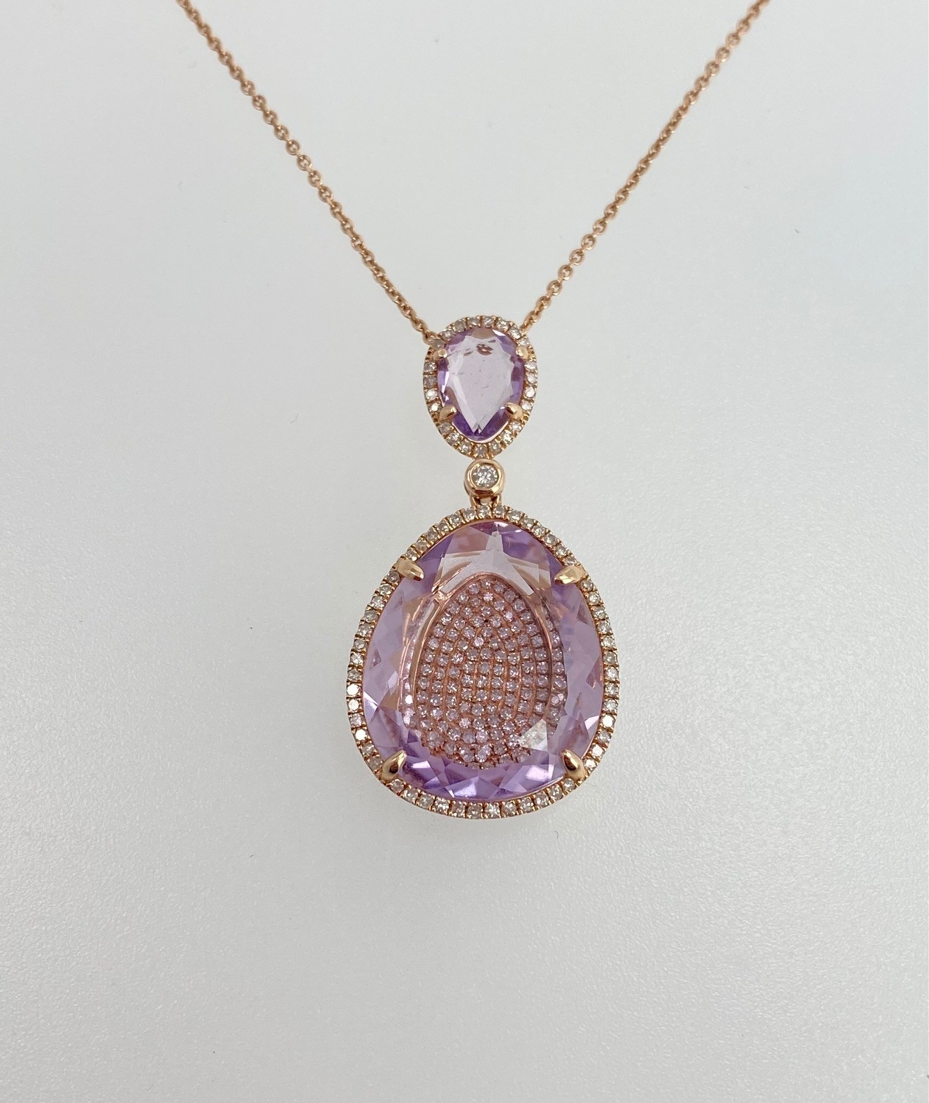 Amethyst and Diamond Rose gold pendant