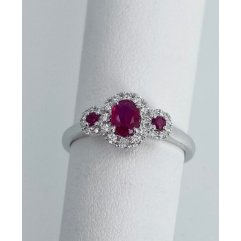 Ruby and  Diamond triple halo ring