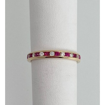 Channel set Ruby Diamond Band